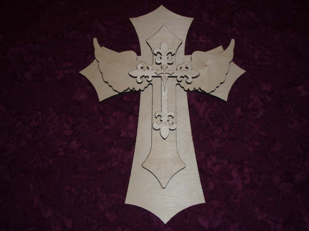 "Layered Unfinished Wood Cross Set 15"" Inch Tall LC15-167"