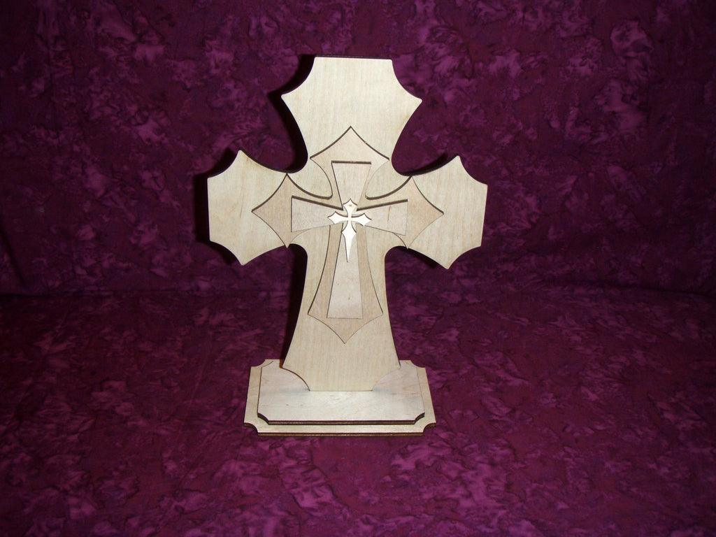 Standing Wood Cross Layered Unfinished Wooden Crosses Stacked Part LCS11-1501