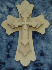 "Layered Unfinished Wood Cross Set 15"" Inch Tall LC15-165"