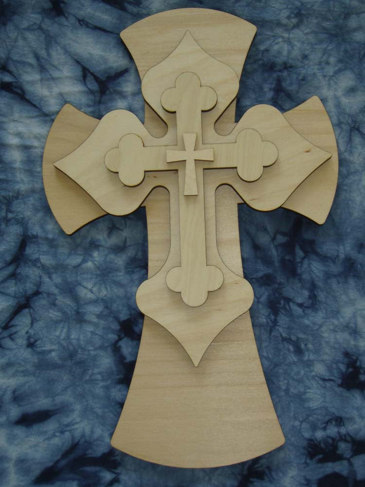 "Layered Unfinished Wood Cross Set 15"" Inch Tall LC15-166"