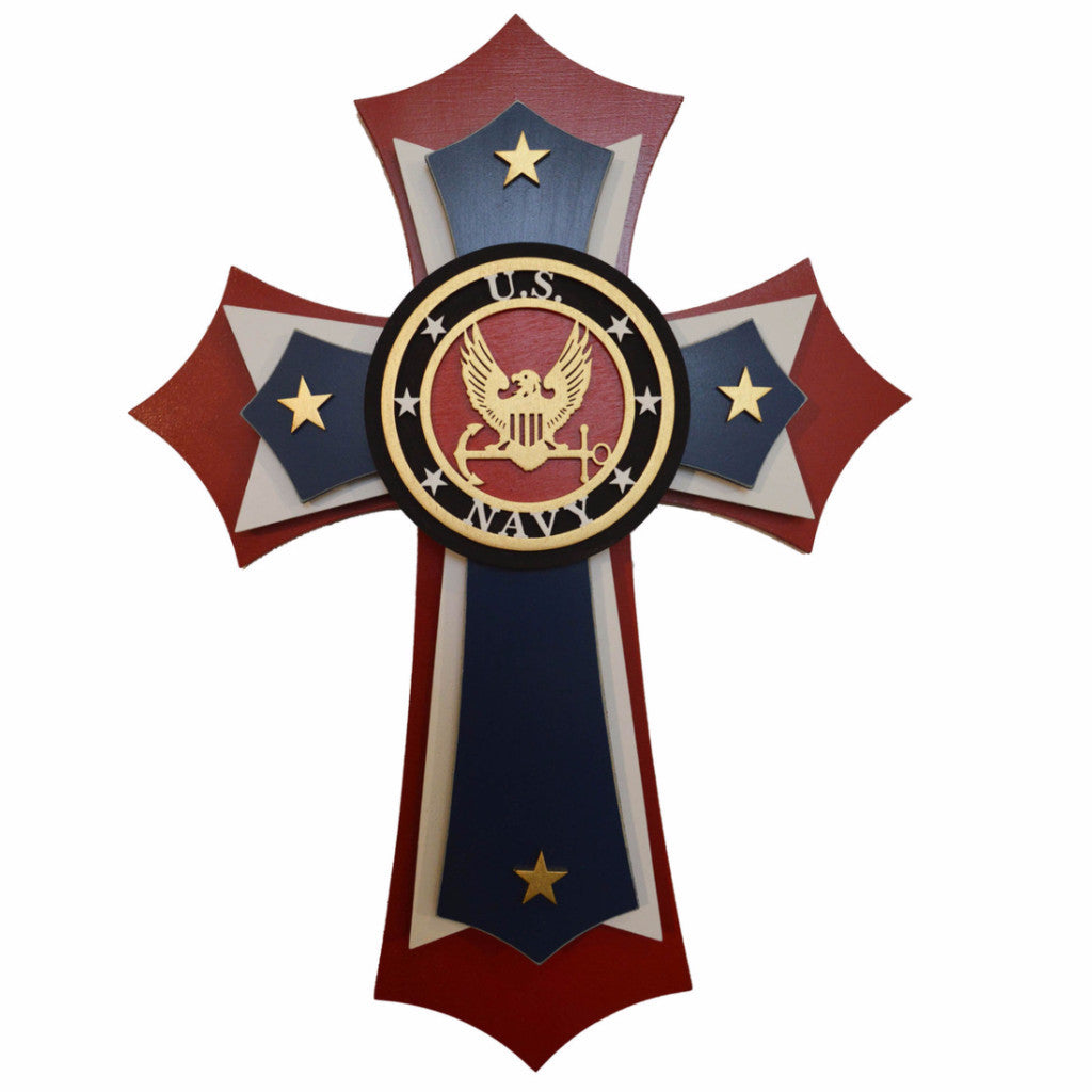 "US Navy Wood Cross Military Decorative Wall Crosses 15"" Inch Tall Artistic Craft Supply"
