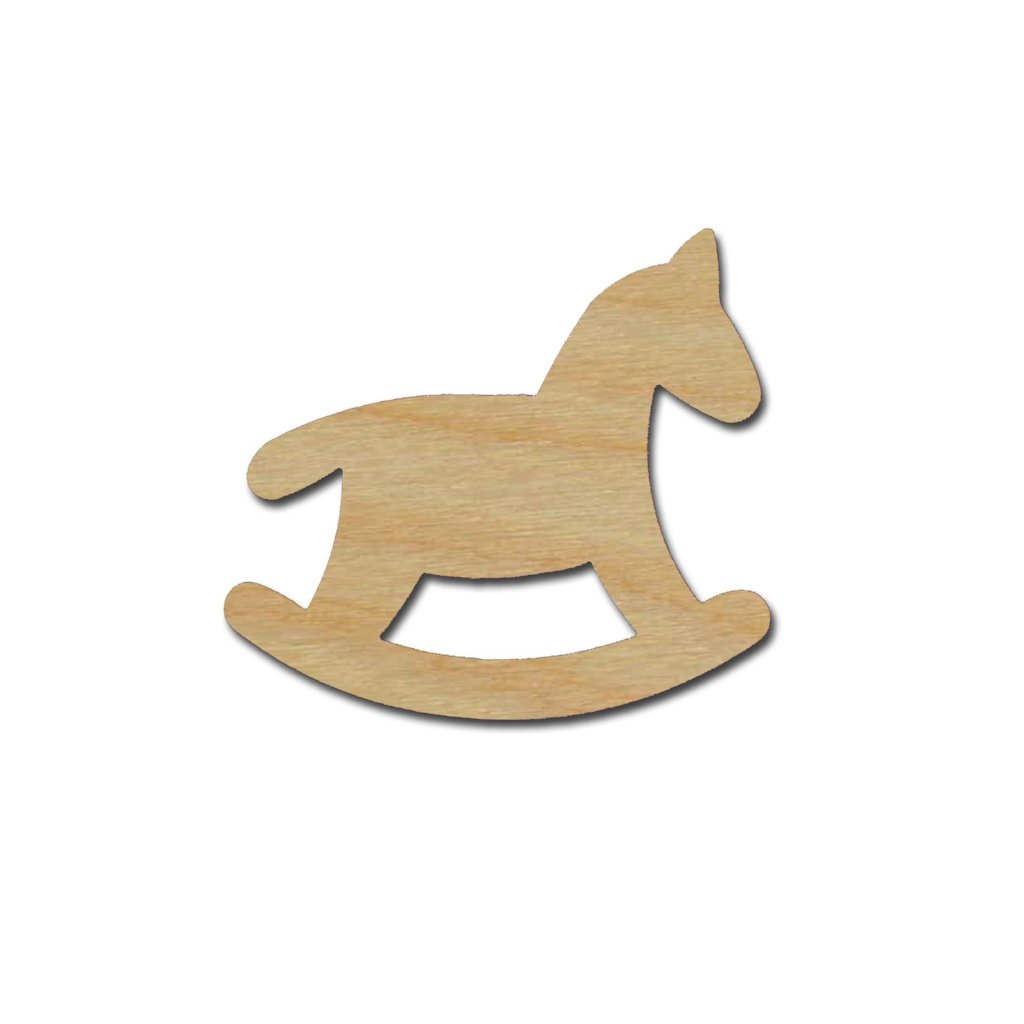 Rocking Horse Shape Unfinished Wood DIY Craft Cutouts Variety of Sizes