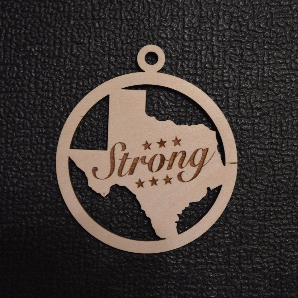 Texas Strong With Stars Engraved Ornament Unfinished Wood Cutout