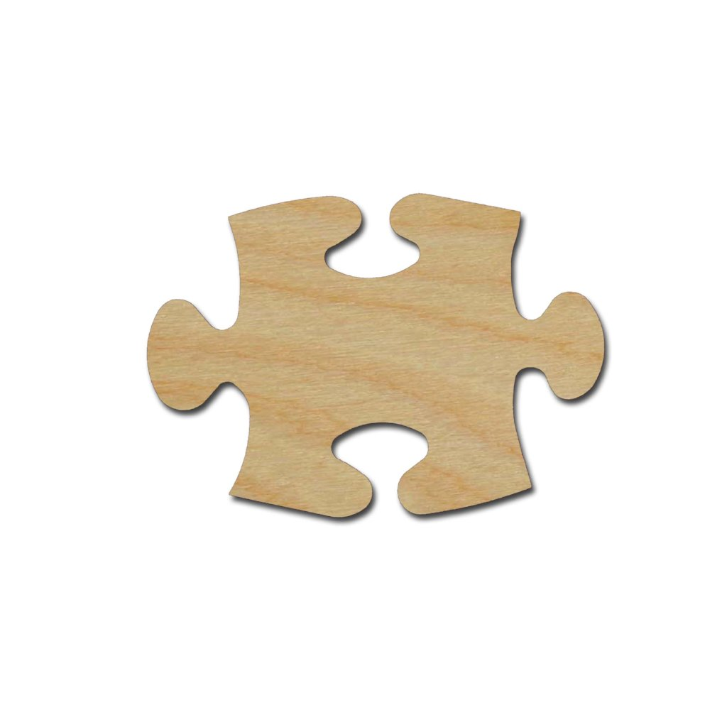 Puzzle Piece Shape Unfinished Wood Craft Cutout Variety of Sizes