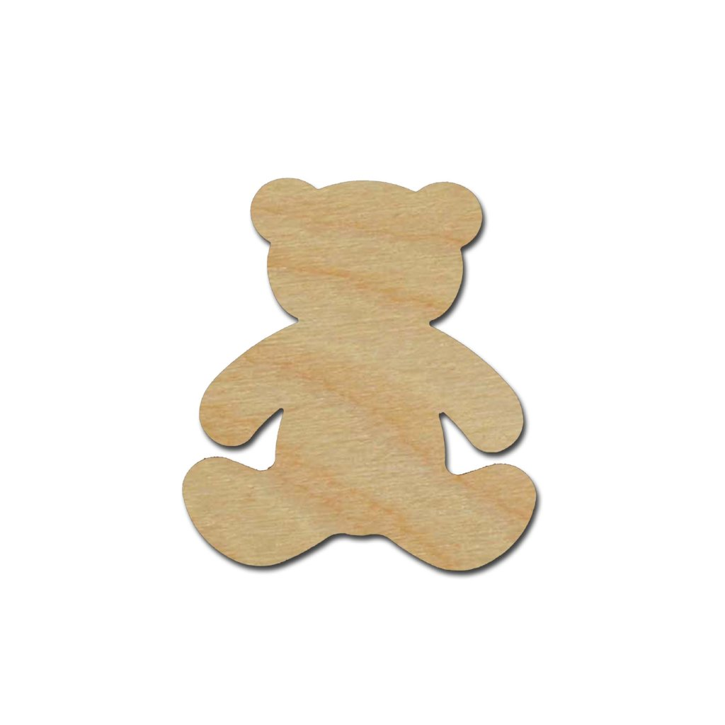 Teddy Bear Shape Unfinished Wood Craft Cutout Variety of Sizes