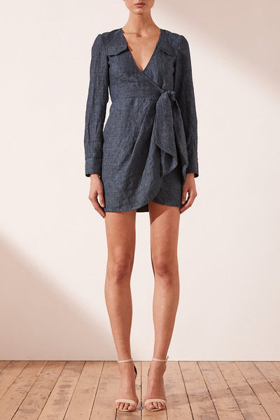 Shona Joy Cardozo Draped Mini Shirt Dress