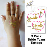 Bride Team temporary tattoos gold and pink | Photo by Jewel Flash Tattoos