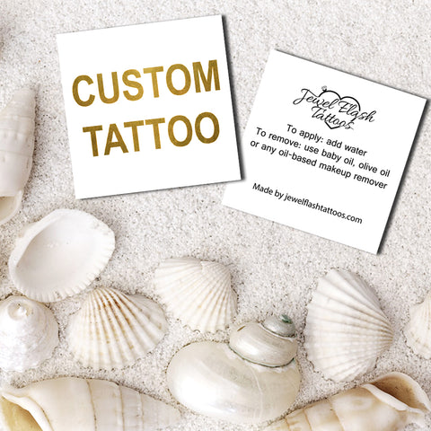 Custom temporary tattoos personalized text or hashtag in USA | By Jewel Flash Tattoos
