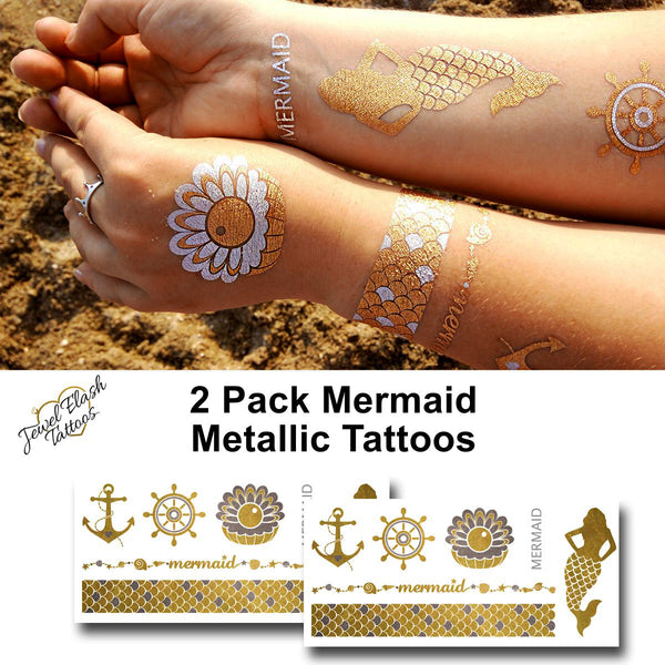 Mermaid temporary tattoos, metallic gold and silver tattoo stickers for beach party | Photo by Jewel Flash Tattoos
