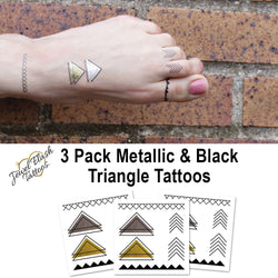 Triangle geometry temporary metallic tattoos for women | Photo by Jewel Flash Tattoos