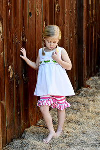 Girls Smocked Alligator Ruffle Short Set