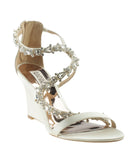 Badgley Mischka Bennet Tan Satin Wedges, Size 7.5