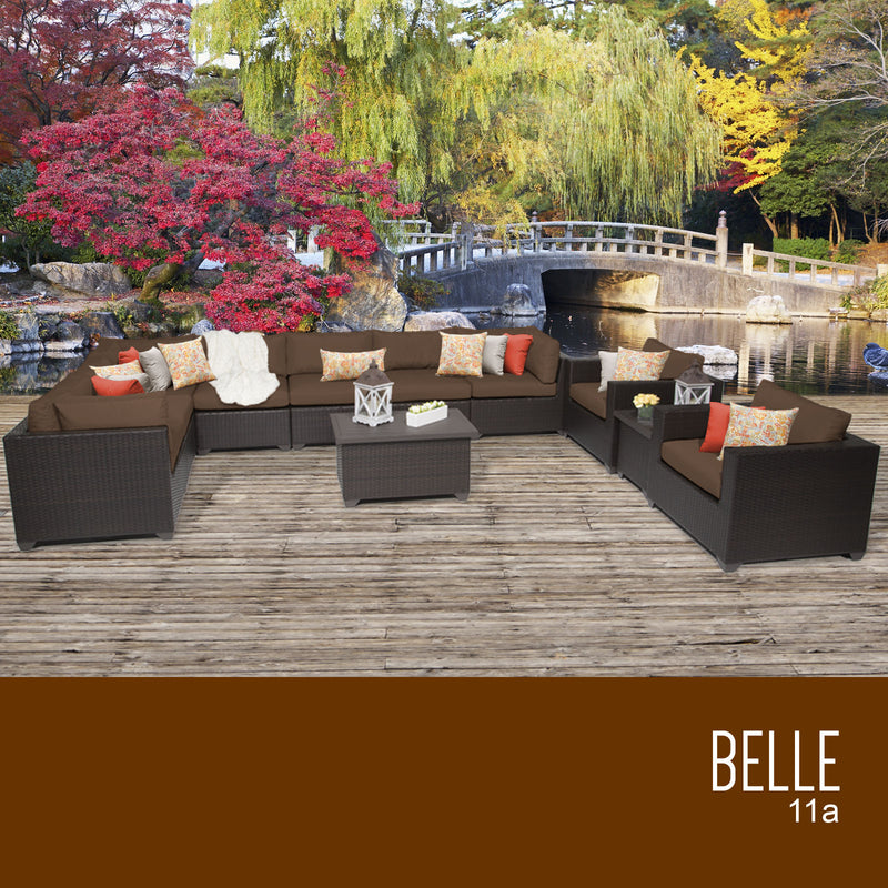 Belle 11 Piece Cocoa Outdoor Wicker Patio Set