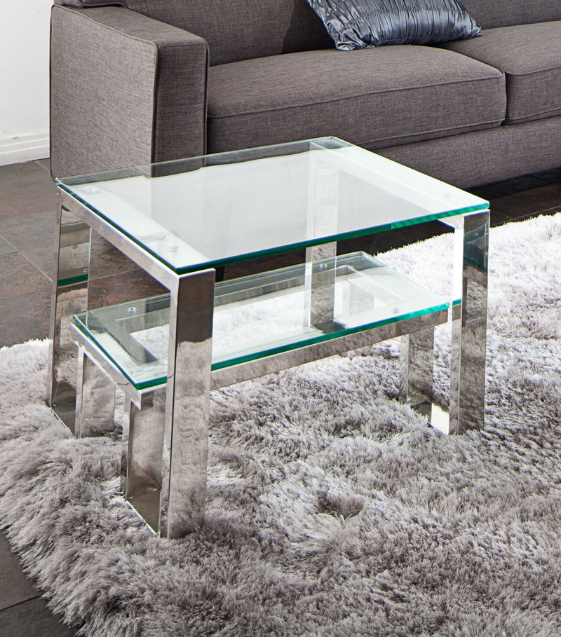 Carlsbad End Table with Clear Glass Top & Shelf