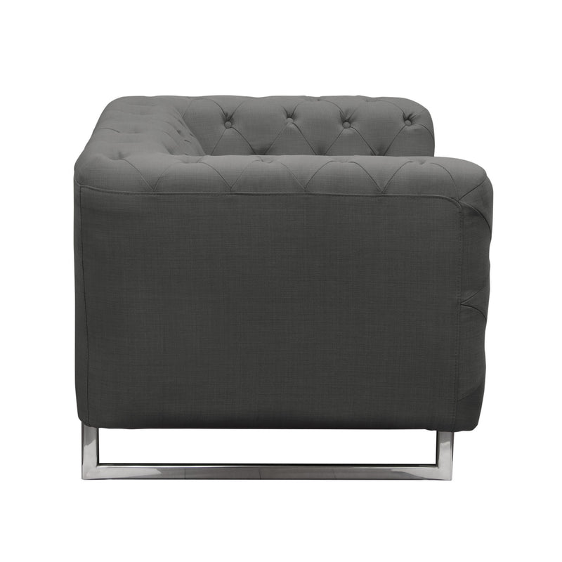 Catalina Tufted Chair with Metal Leg in Grey Fabric