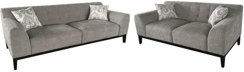 Marquee Tufted Back Fabric Sofa & Loveseat Set - Moonstone
