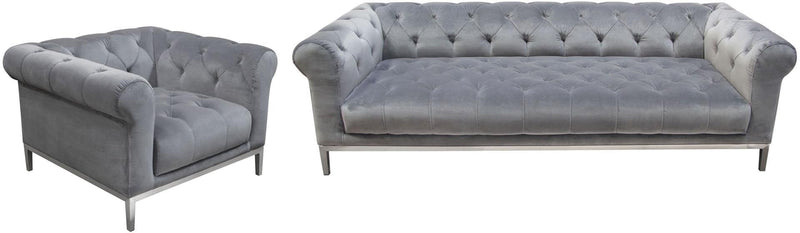 Monroe Tufted Velvet Sofa & Chair Set - Platinum Grey