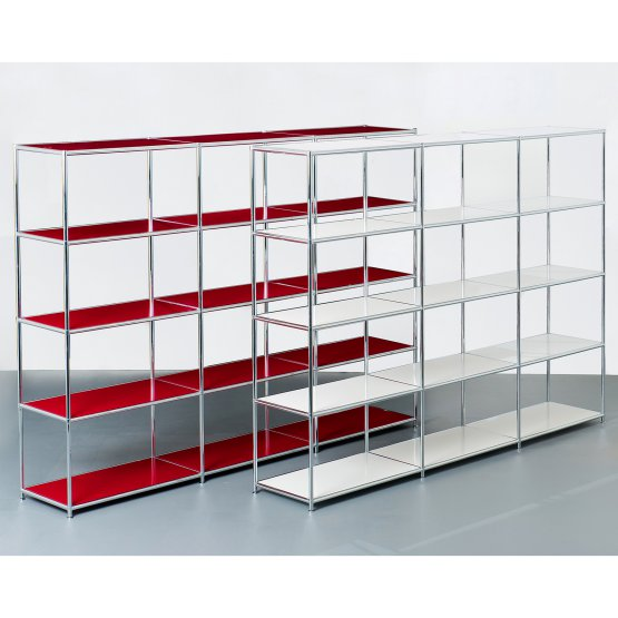 SYSTEM4 Open Bookshelves with 12 Shelves (Traffic Yellow)