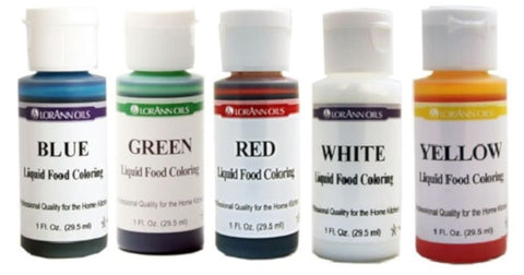 Lorann Oils Liquid Food Coloring - Primary Colors - Set of Five 1 Ounce Bottles - Cricket Creek