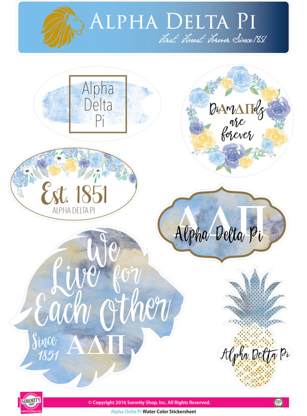 Shop #AlphaDeltaPi sticker sheets at M&D Sorority Gifts. 200+ #ADPI products available. #mdsororitygifts