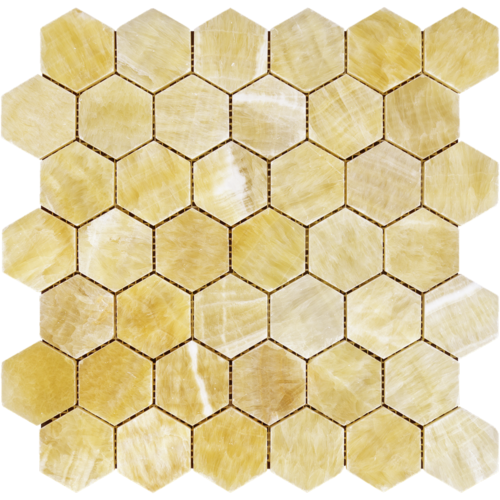 "Honey Onyx Mosaic - 2"" Hexagon Polished"