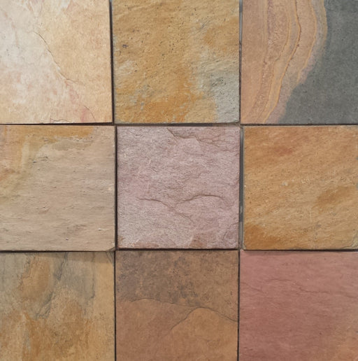 "Indian Sunrise Slate Tile - 16"" x 16"" x 1/2"" Natural Cleft Face, Gauged Back"