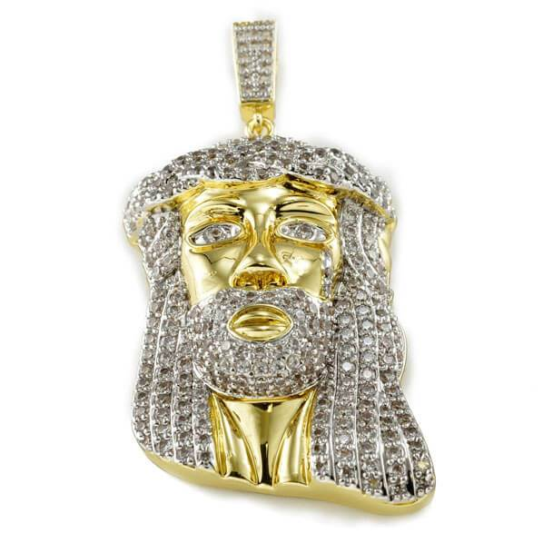 18k Gold Iced Mini Jesus Piece 8 With Rope Chain