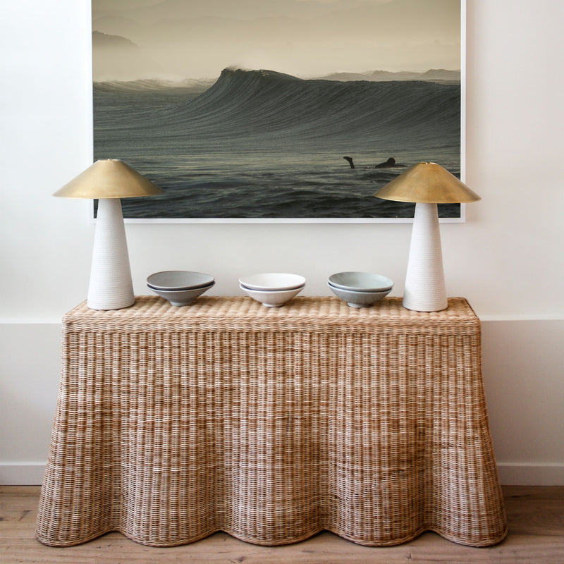 Scallop console handwoven rattan wicker by Mainly Console