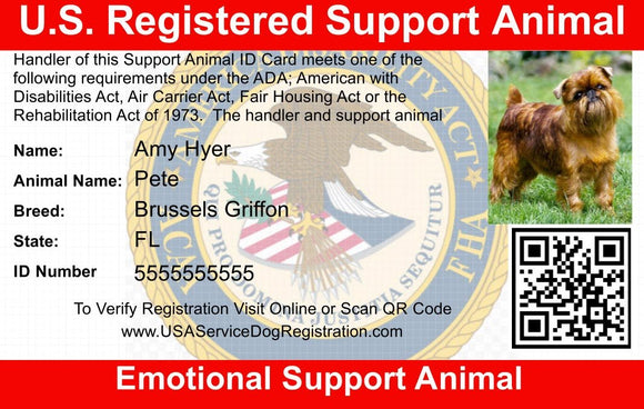 Emotional Support Animal ID Card - USA Service Animal Registration