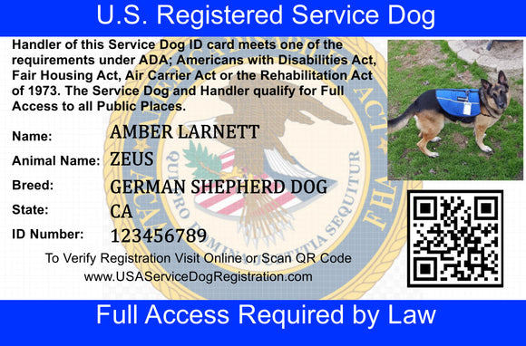 Service Dog ID Cards - USA Service Animal Registration