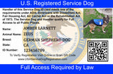 Service Dog Credential Package (Includes ID Card, 2 Service Dog Patches, ID Tag & Digital Certificate Bundle and Save $35) - USA Service Animal Registration
