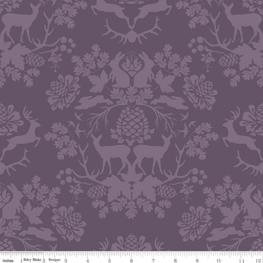 SALE Organica Damask Purple by Riley Blake Designs - Deer Forest Trees Tone on Tone - Quilting Cotton Fabric - choose your cut