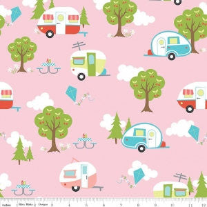 Glamper licious Main Pink - Riley Blake Designs - Campers Trees Camping Nature - Quilting Cotton Fabric - choose your cut