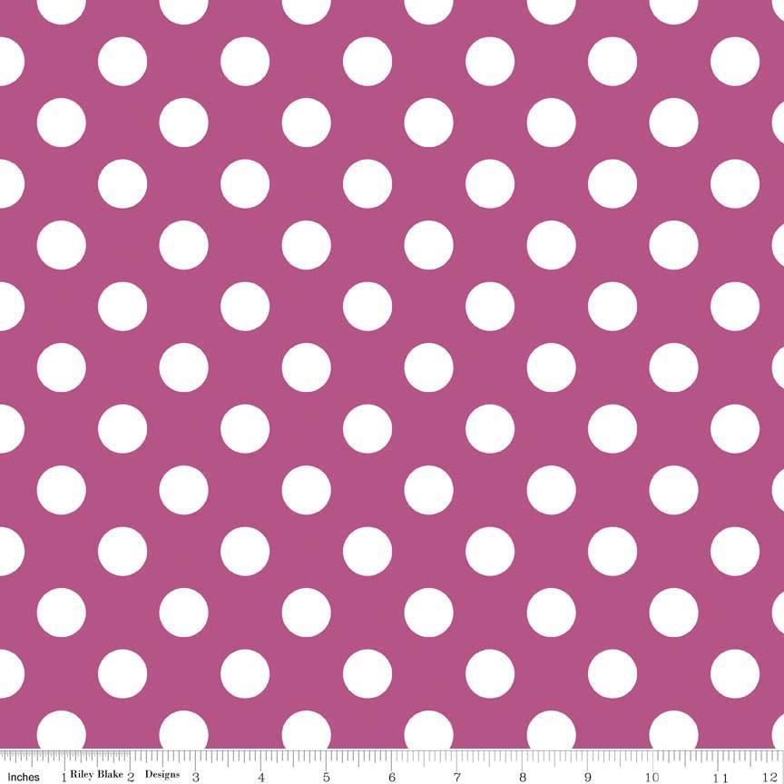 "SALE Fuschia Medium Dots 3/4"" by Riley Blake Designs - White on Fuschia Purple Pink - Quilting Cotton Fabric - choose your cut"