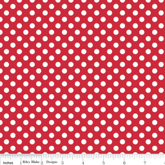 Small Dot Red by Riley Blake Designs - White on Red Polka Dots - Jersey KNIT cotton lycra stretch fabric - choose your cut
