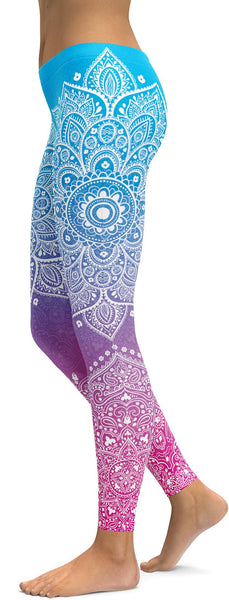 Blue to Pink Mandala Leggings