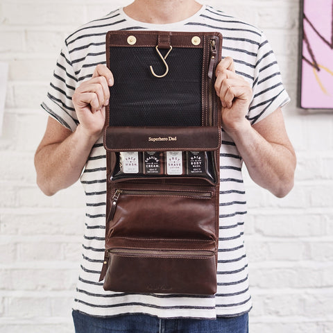 Hanging leather wash bag for men
