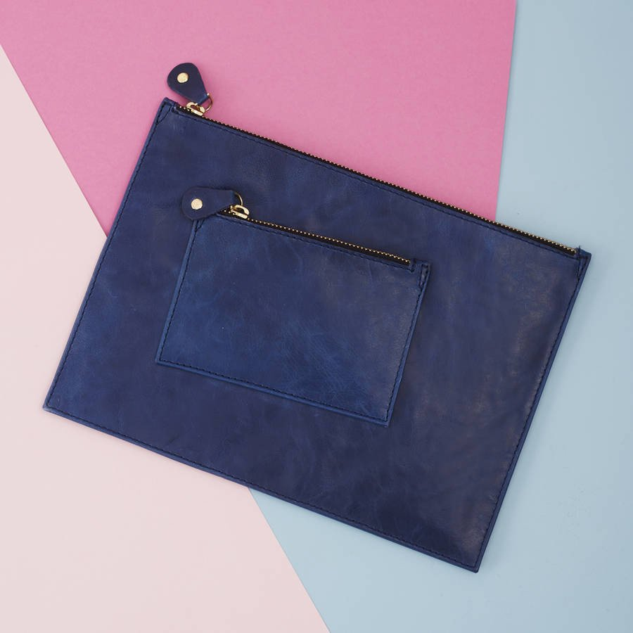 Leather iPad Clutch Bag Navy