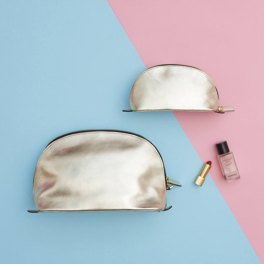 Matching Lunar Toiletry Bag and Make-up Bag Gold