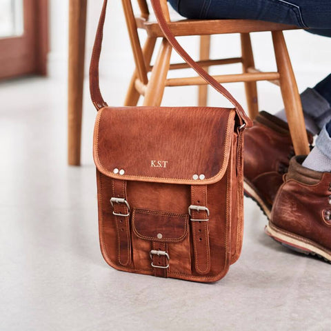 Mens midi long leather satchel with front pocket and initials