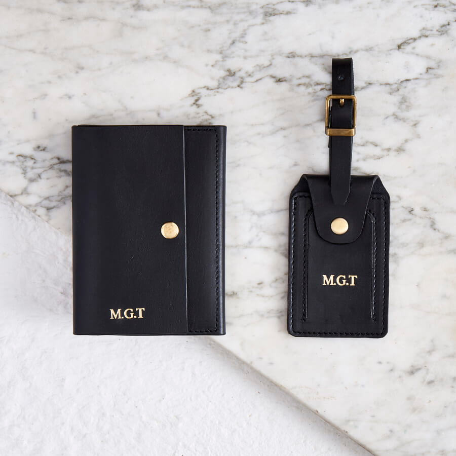 Personalised Luxe Leather Passport Cover and Luggage Tag Set