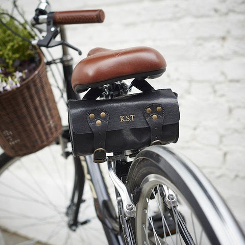 Black Leather Bike Saddle Bag On Bike