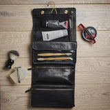Black Leather Hanging Wash Bag for Men Contents