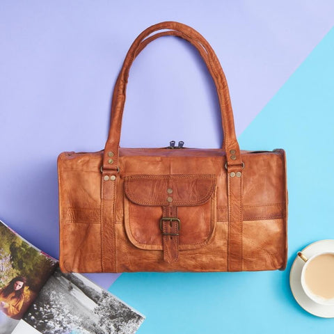 Leather duffel bag small size in tan brown