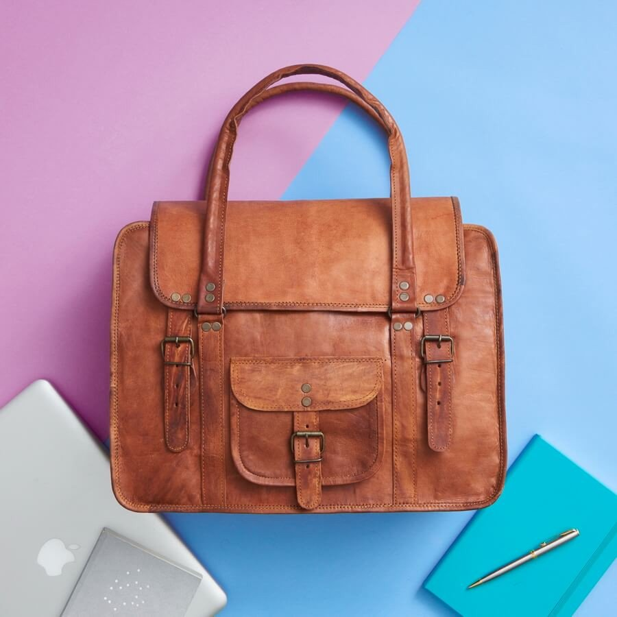 Leather weekend travel bag and laptop bag