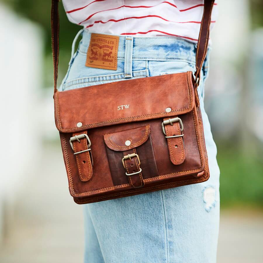mini leather satchel with front pocket