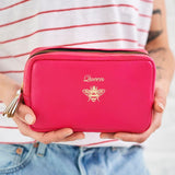 Pink leather make up bag for women
