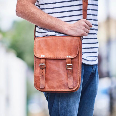 Midi long mens leather satchel with straps