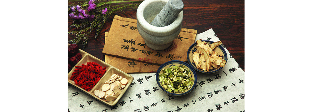 image of Chinese medicine mortal pestle and herbs
