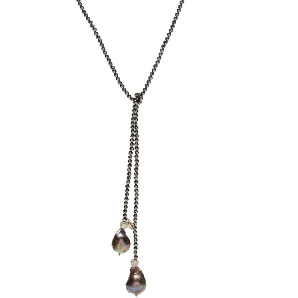 Hematite and Gray Baroque Pearl Lariat